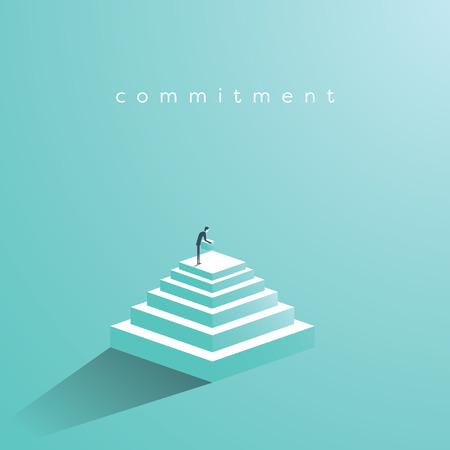 Businessman building steps vector concept.