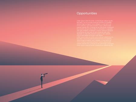 Concept de vecteur visionnaire d'affaires avec homme d'affaires visionnaire, regardant à travers le télescope à l'horizon. Paysage au coucher du soleil, symbole d'opportunité, nouveau départ, début de carrière, travail.