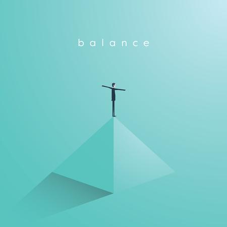 Business concept of balance, vector illustration. Symbol of work life balance, equality, stability. Illustration