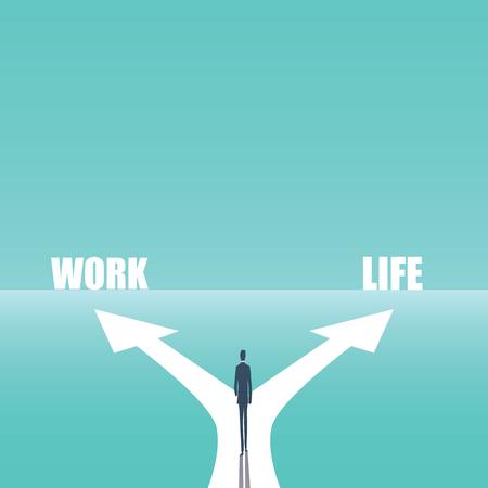 Ilustración del vector del concepto del negocio de la balanza de la vida laboral. Empresario caminando y tomando decisiones entre la carrera y su vida, familia, tiempo libre. Foto de archivo - 92949158