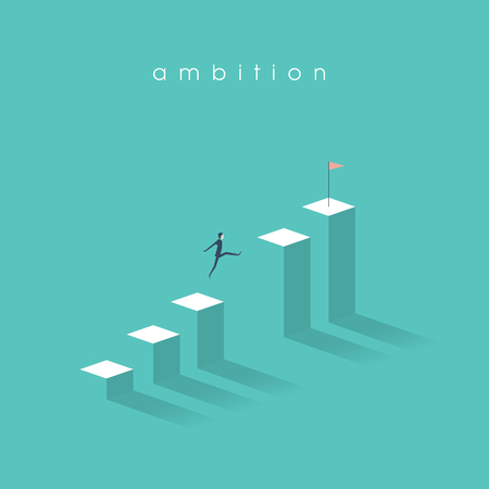 Business ambition vector concept with businessman jumping over gap and moving up on graph. Symbol of motivation, confident thinking, success, opportunity. Vettoriali