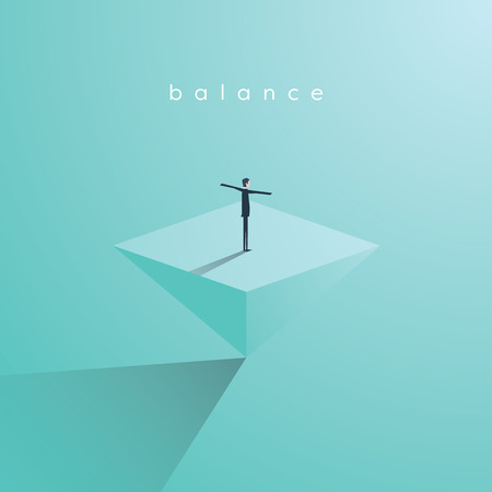 Business concept of balance, vector illustration. Businessman standing on top of inverted pyramid. Symbol of work life balance, equality, stability. Eps10 vector illustration.