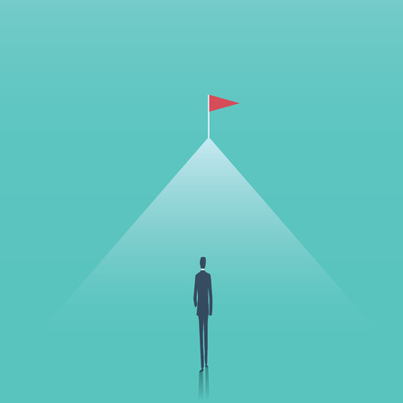 Business goal and challenge vector concept. Businessman walking towards top of the mountain. Symbol of aspiration, future, progress, achievement, motivation. Eps10 vector illustration. Illustration