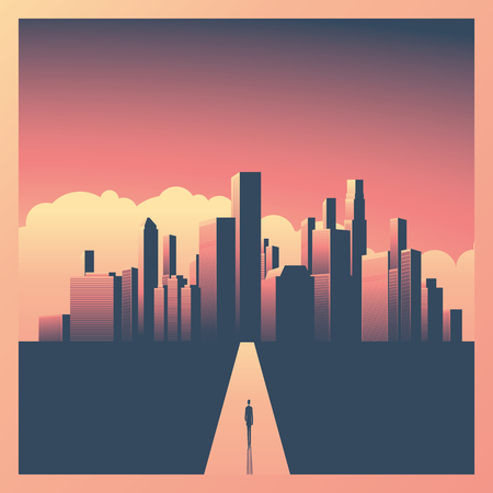 Business or career opportunity vector concept with businessman walking towards big city. Symbol of success, vision, future, perspective. Eps10 vector illustration. Stock Illustratie
