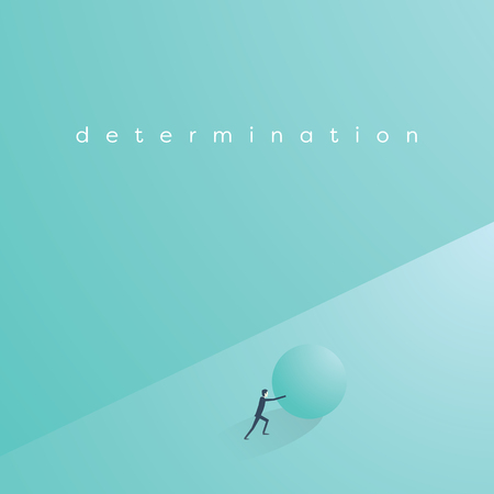 Business determination and perseverance concept. Businessman pushing ball uphill in struggle. Symbol of challenge and motivation. Eps10 vector illustration.