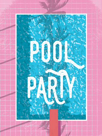 Summer pool party invitation or poster template with vintage retro swimming pool and jump. Summer vacation, holiday, relaxation, leisure concept. Eps10 vector illustration.