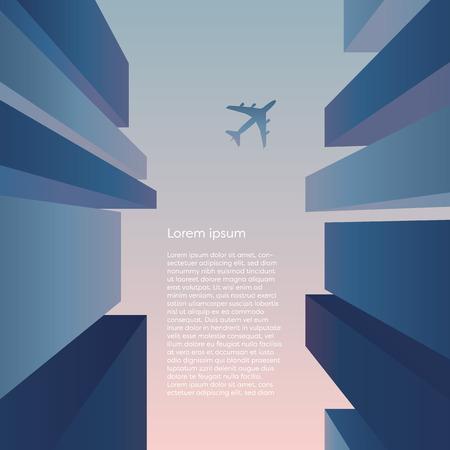 Découvre de la rue entre les gratte-ciel avec avion volant dans le ciel, fond de vecteur. Concept d'architecture de quartier financier d'entreprise avec perspective. Illustration vectorielle EPS10. Vecteurs