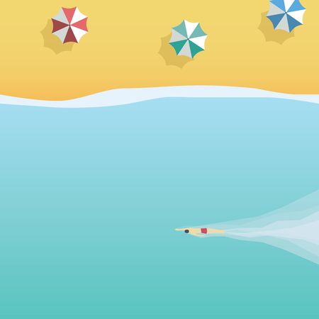 Summer beach vector illustration. Symbol of holiday, vacation, beach fun, relaxation, swimming. Eps10 vector illustration. Ilustrace