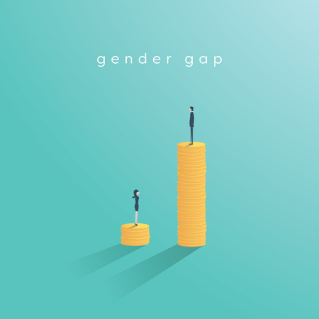 Gender gap and inequality in salary, pay vector concept. Businessman and businesswoman on piles of coins. Symbol of discrimination, difference, injustice. Illustration