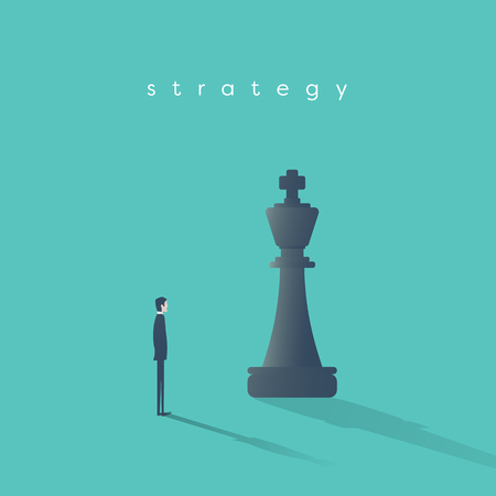 Business strategy concept vector with businessman and chess king piece. Symbol of competition, planning, game, motivation, ambition.