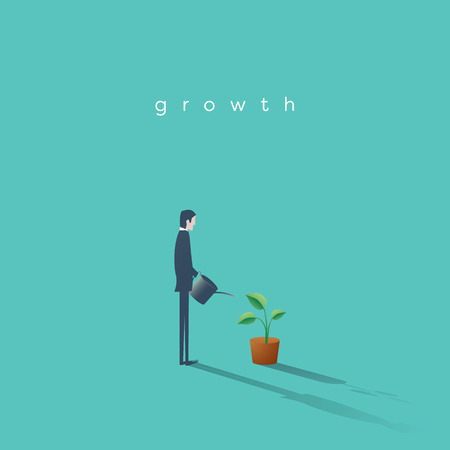 Business growth vector concept with businessman watering plant. Symbol of progress, success, motivation, ambition. Illustration