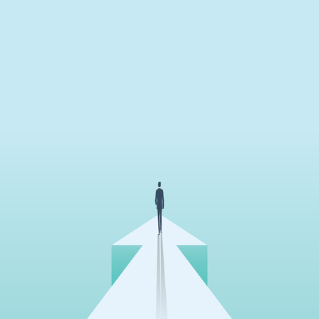 Business future and progress vector concept. Businessman walking forward on arrow. Symbol of success, motivation, ambition, challenge and achievement.