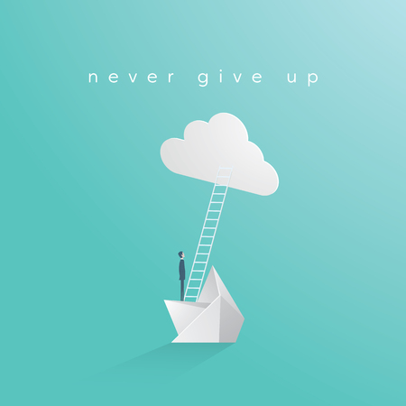 Never give up business vector concept with businessman on sinking boat. Symbol of motivation, determination, success, career growth. Eps10 vector illustration.