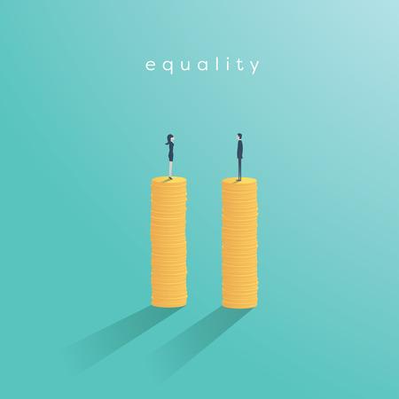 비즈니스 양성 평등 벡터 개념입니다. 월등 한 봉급, 지불, 남자와 여자 사이의 기업 비즈니스의 균형의 상징.