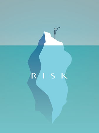 Business risk vector concept with businessman on iceberg in sea. Symbol of challenge, danger, leadership and courage. Vettoriali