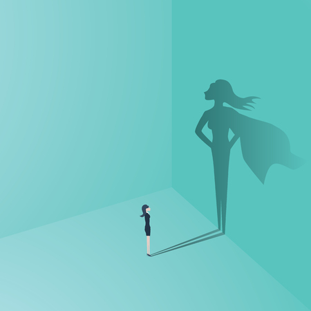 Businesswoman with superhero shadow vector concept. Business symbol of emancipation, ambition, success, motivation, leadership, courage and challenge.