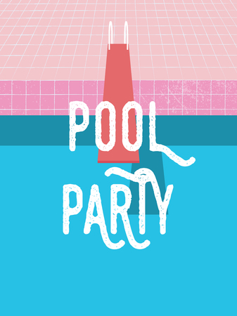 Summer pool party invitation poster, flyer vector template with vintage swimming pool background and jumping board.