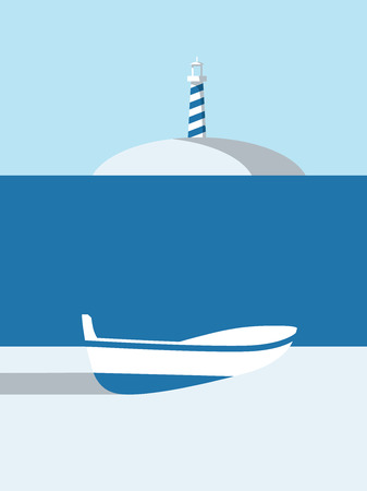 Summer poster vector art with boat on the beach and lightouse on island in the background. Illustration