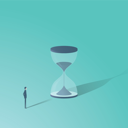 Businessman looking at hourglass vector minimalist concept. Time is money symbol, project management, deadlines etc.