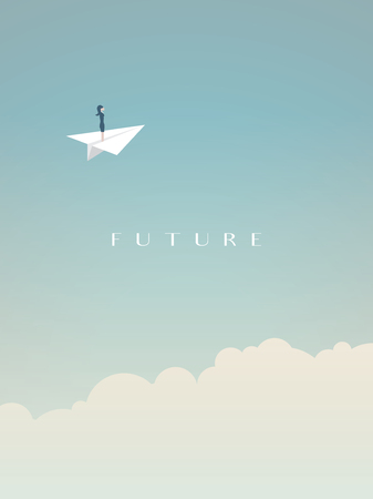 Business woman flying in paper plane above clouds in the sky. Business vector symbol of future, freedom, career opportunities, challenge.