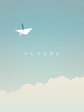 Geschäftsfrauflugwesen in der Papierfläche über Wolken im Himmel. Geschäftsvektorsymbol der Zukunft, Freiheit, Karrieremöglichkeiten, Herausforderung.