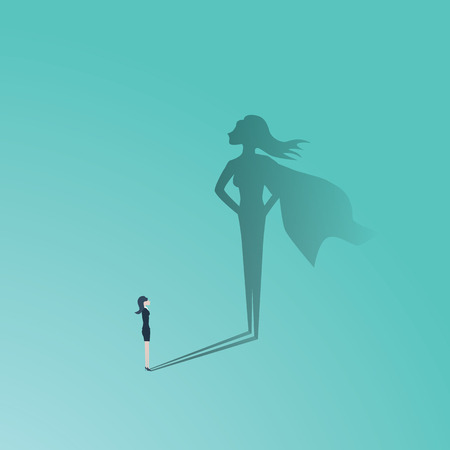 Business woman superhero vector concept. Businesswoman with superhero shadow. Symbol of confidence, leadership, power, feminism and emancipation.