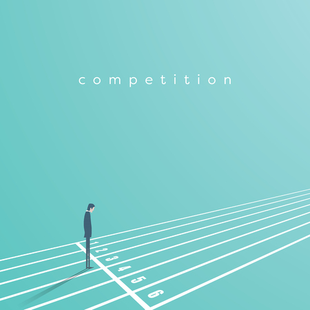 Business start and competition vector concept. Businessman on start of race track. Symbol of challenge, opportunity, career beginning.