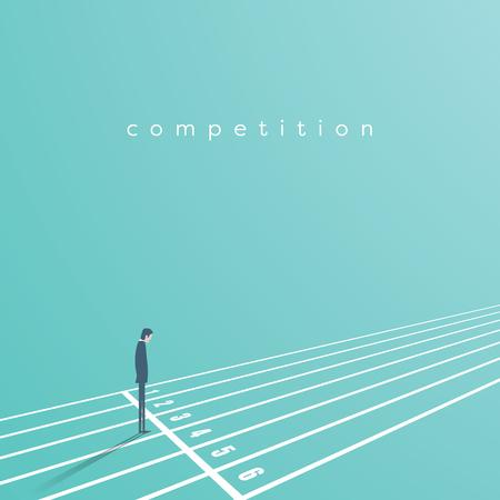 Início de negócios e conceito de vetor de concorrência. Empresário no início da pista de corrida. Símbolo de desafio, oportunidade, início de carreira.