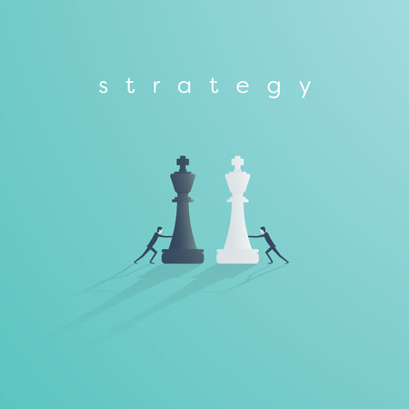 Business strategy and competition vector concept. Businessman push chess pieces against each other.