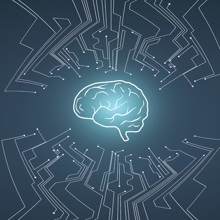 Vektor der künstlichen Intelligenz conept mit Gehirnillustration auf Hintergrund mit PWB-Stromkreis. Symbol der Zukunftstechnologie, Programmierung, neuronales Netzwerk.