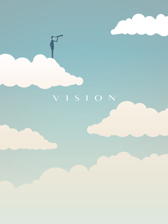 Business vision concept vector motivational poster with businessman on jumping board looking into future. Symbol of challenge, opportunity, goals, success, leadership.