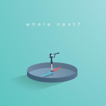 Geschäftsfrau, die auf Kompassvektorkonzept steht. Business-Symbol der Entscheidungsfindung, Lösungen zu finden, auf der Suche nach Gelegenheit. Vektorgrafik