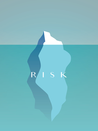 Business risk vector concept with large iceberg hidden under water. Symbol of danger, caution. Eps10 vector illustration.