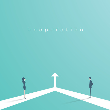 Business cooperation and partnership vector concept. Woman and man working together for common goal. Symbol of equality, collaboration, connection. Stock Illustratie