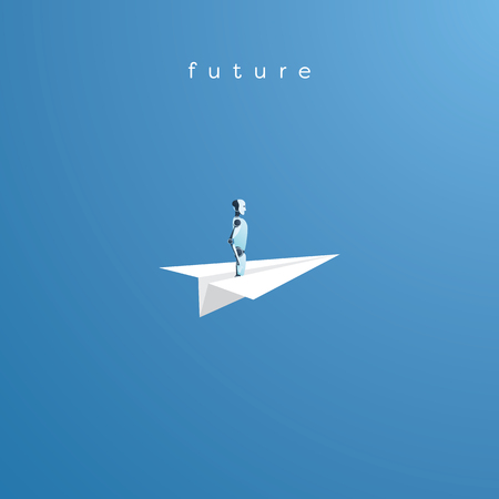 Artificial intelligence and future technology vector concept. Ai robot flying on paper boat as symbol of futuristic vision. Illustration