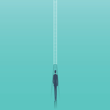Business corporate career ladder vector concept. Businessman walking towards ladder as symbol of career progress, promotion, ambition, motivation. Illustration
