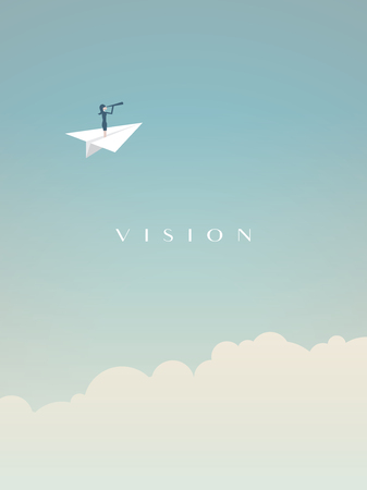 Business vision vector concept with businesswoman flying above clouds in a paper plane with telescope. Illustration