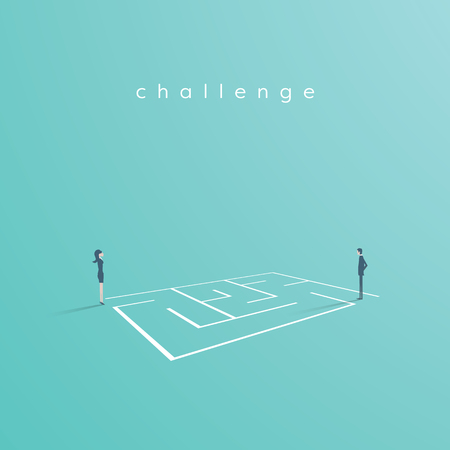 Business solution and challenge vector concept. Businesswoman and businessman standing next to a maze, labyrinth. Eps10 vector illustration. Vectores