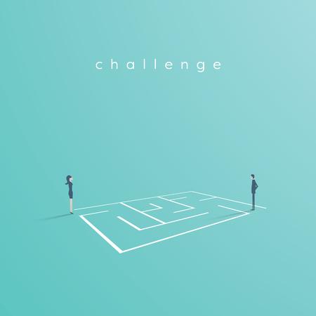 Rozwiązanie biznesowe i koncepcja wektor wyzwanie. Bizneswoman i biznesmen stojący obok labiryntu, labirynt. Ilustracja wektorowa Eps10. Ilustracje wektorowe