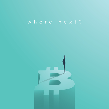 Bitcoin vector concept with businessman standing on top of giant bitcoin symbol.