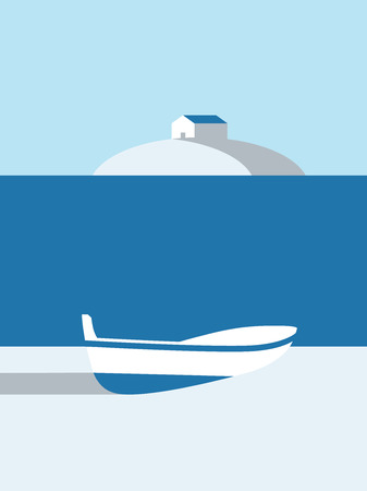 Summer poster vector art with boat on the beach and cabin on island in the background. Eps10 vector illustration. Stock Photo