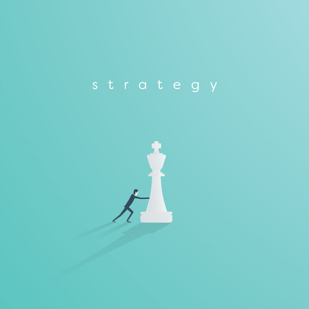 Business strategy vector concept with businessman playing chess. Symbol of vision, competition, negotiation, planning and challenge. Eps10 vector illustration. Stock Photo