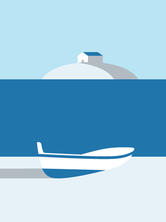 Summer poster vector art with boat on the beach and cabin on island in the background.