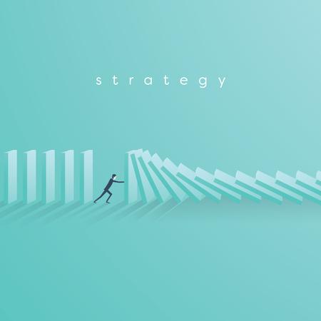 Hombre de negocios que deja de caer concepto del vector del dominó. Símbolo de crisis, riesgo, gestión, liderazgo y determinación.