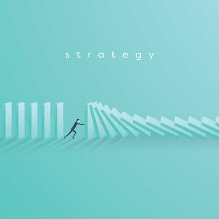 Businessman stopping falling domino vector concept. Symbol of crisis, risk, management, leadership and determination. Vettoriali