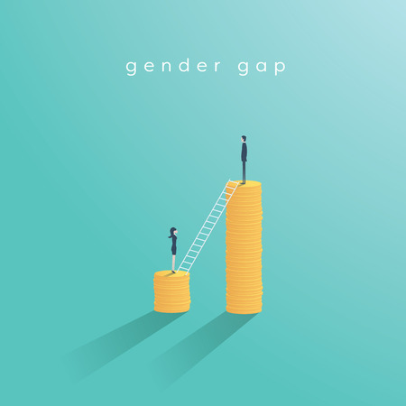 Gender gap and inequality in salary, pay vector concept. Businessman and businesswoman on piles of coins. Symbol of discrimination, difference, injustice. Ilustração