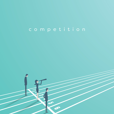 Business competition vector concept with businessman and businesswoman on running track. Symbol of rivals, gender equality, challenge, leadership. Imagens