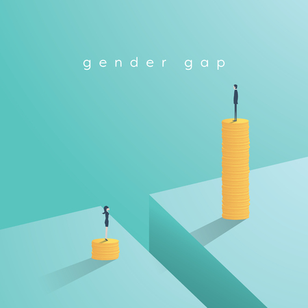 Gender gap and inequality in salary, pay vector concept. Businessman and businesswoman on piles of coins. Symbol of discrimination, difference, injustice. Stock Illustratie