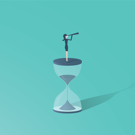 Time is up movement with woman standing on top of sand clock or hourglass with telescope.