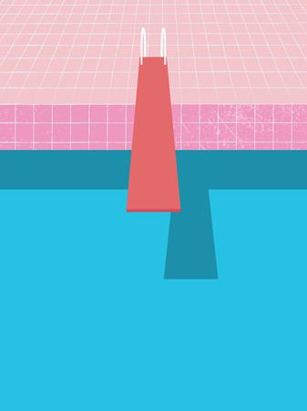Manifesto dell'invito della festa in piscina di estate, modello di vettore dell'aletta di filatoio con il fondo d'annata della piscina e bordo di salto.